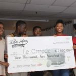 Students receiving scholarship from the Lila Mae Foundation